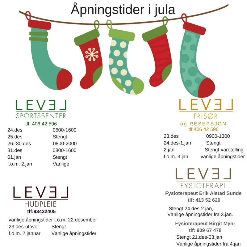 Åpningstider jul 2017